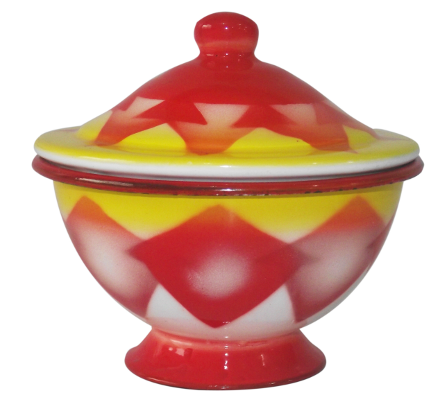 Red Enamel finger bowl with full design