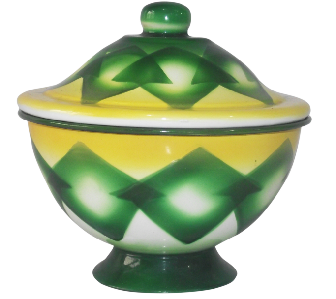 Green Enamel finger bowl with full design
