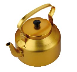 Shinny aluminium yellow kettle  to yemen