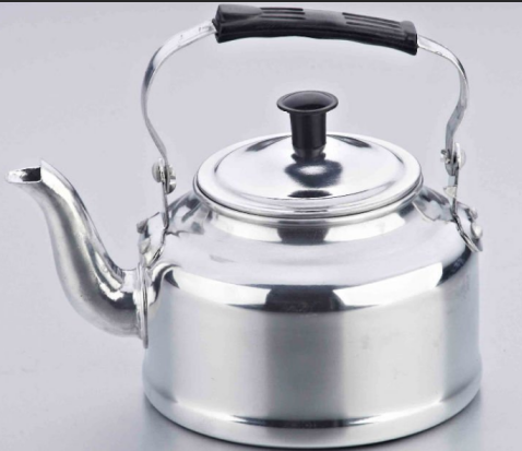 aluminium polished kettle  with red handle