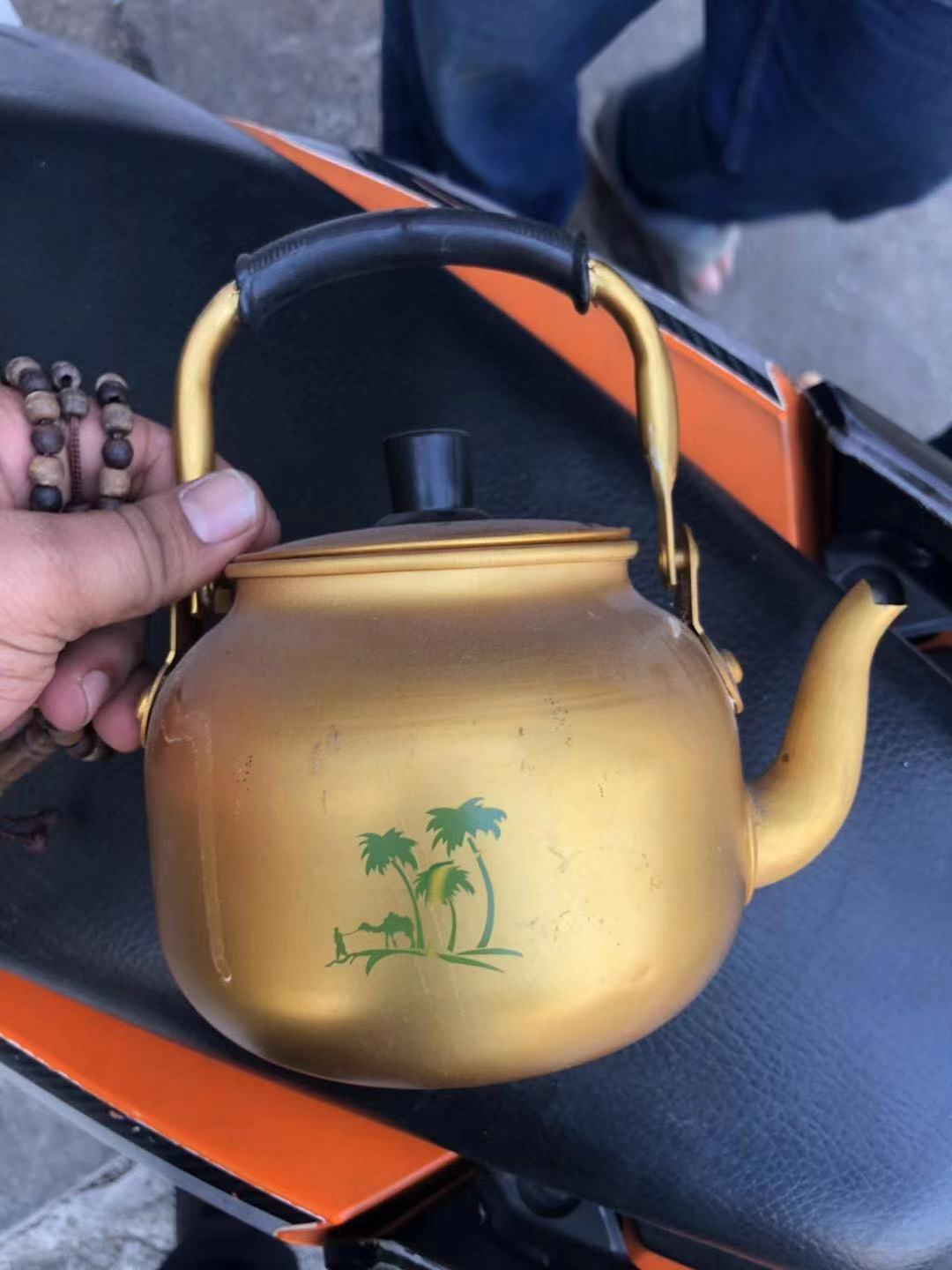 3.0L aluminum yellow kettle qith flower to indonesia